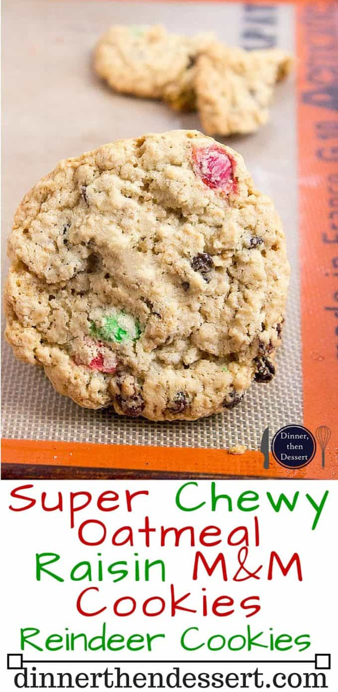 Super Chewy Oatmeal Raisin M&M Cookies are full of oats, raisins, M&Ms, brown sugar (this makes them super moist and chewy) and they stay fresh covered for a week...if they last that long!