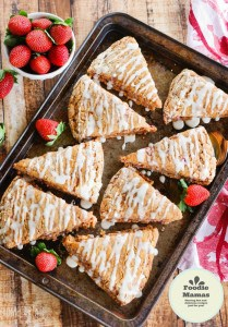 Whole Wheat Strawberry Scones with a Lemon Glaze from Home and Plate