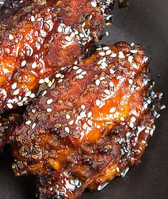 Sticky Asian wing sauce with sesame seeds