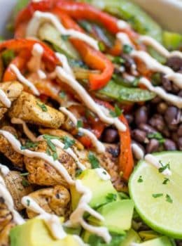 Easy Chicken Fajita Rice Bowls with are healthy and quick to make, they're like your favorite fajitas but without the tortillas and easy to pack for lunch!