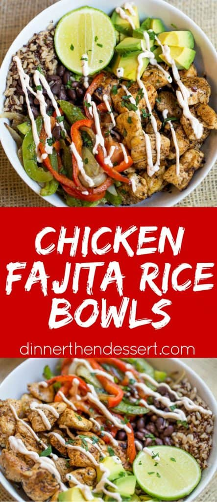 Easy Chicken Fajita Rice Bowls are healthy and quick to make, they're like your favorite fajitas but without the tortillas and easy to pack for lunch!