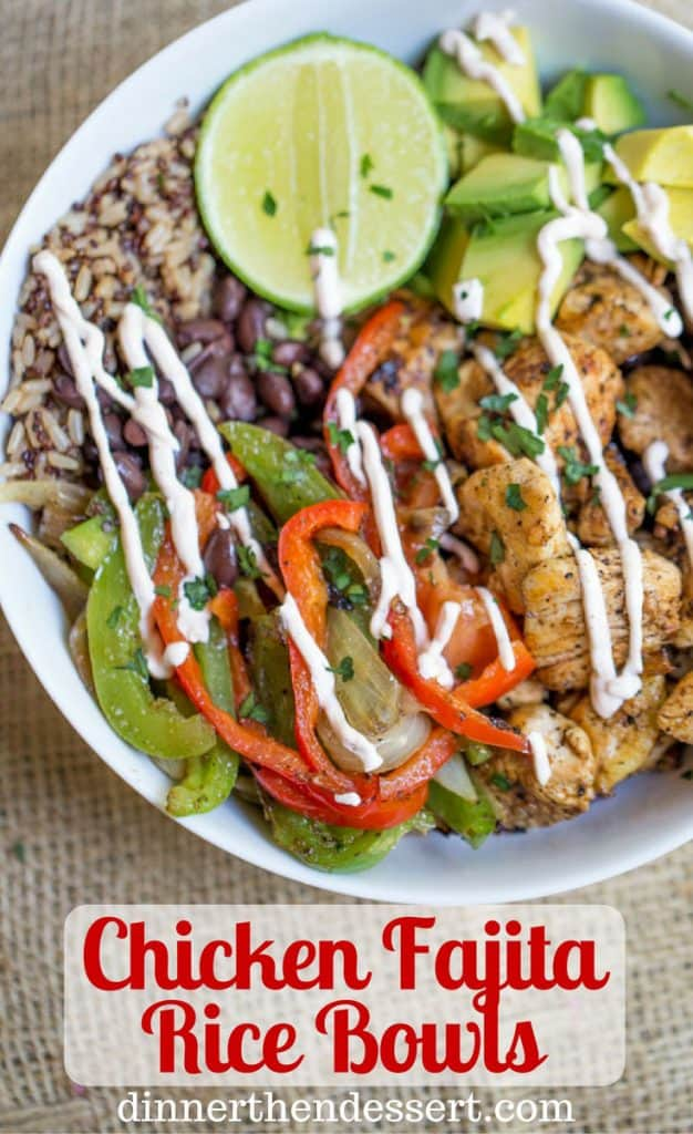 Easy chicken fajita rice bowls dinner then dessert easy chicken fajita rice bowls are healthy and quick to make theyre like forumfinder Images
