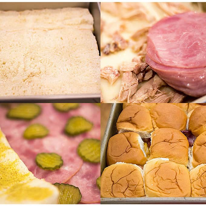 Baked Cuban Pork Party Sliders have pork shoulder, sliced ham, Swiss cheese, pickles, brown mustard and a butter whole grain mustard topping make these party sliders a perfect gameday treat and put the standard ham and cheese versions to shame.