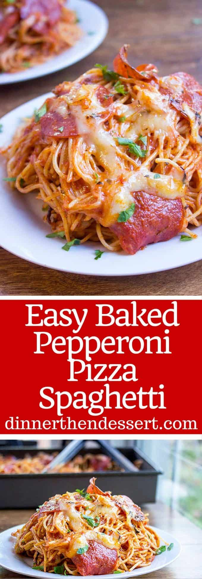 A mix of pepperoni pizza and cheesy marinara pasta, this Easy Baked Pepperoni Pizza Spaghetti is a fun alternative to pizza night and perfect for a crowd! dinnerthendessert.com