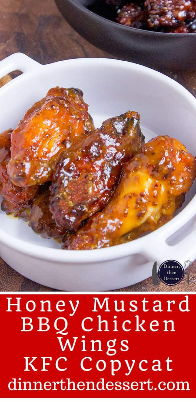 Tossed in a honey mustard and BBQ sauce, these chicken wings will be the hit of your game day party. dinnerthendessert.com