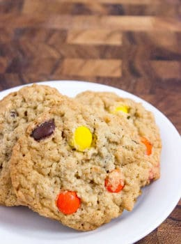 Chewy, crispy Oatmeal Reese's Peanut Butter Cookies are rich and moist dessert, a perfect addition to your lunchbox or even as a morning snack.