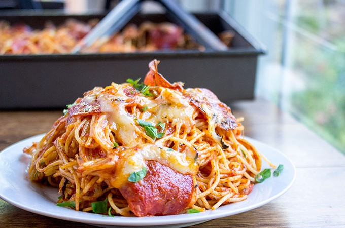 Easy Baked Pepperoni Pizza Spaghetti