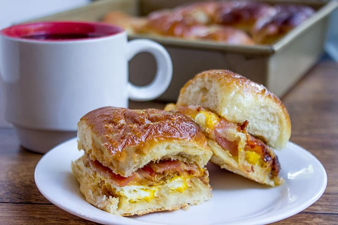 Baked Bacon Egg and Cheese Hawaiian Sliders - Dinner, then ...