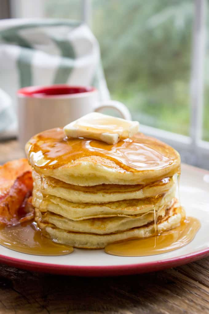Classic Pantry Pancakes homemade with basic pantry ingredients. You don't need to run to the store or let the batter rest for these amazing fluffy, delicious pancakes, you'll be eating in 15 minutes.