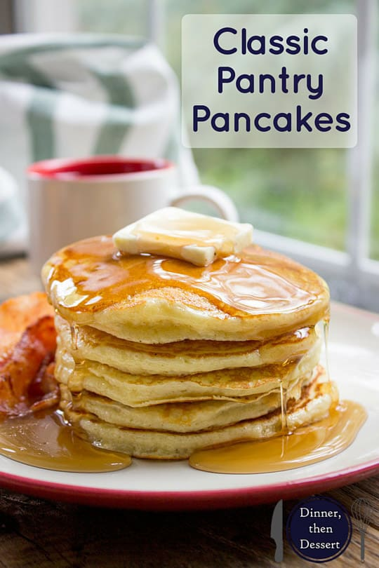 Classic Pantry Pancakes made with basic pantry ingredients. You don't need to run to the store or let the batter rest for these amazing fluffy, delicious pancakes, you'll be eating in 15 minutes.