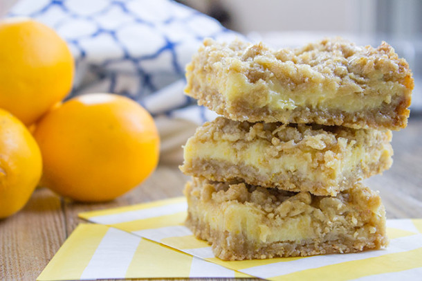 Creamy Lemon Crumb Bars - Dinner, then Dessert