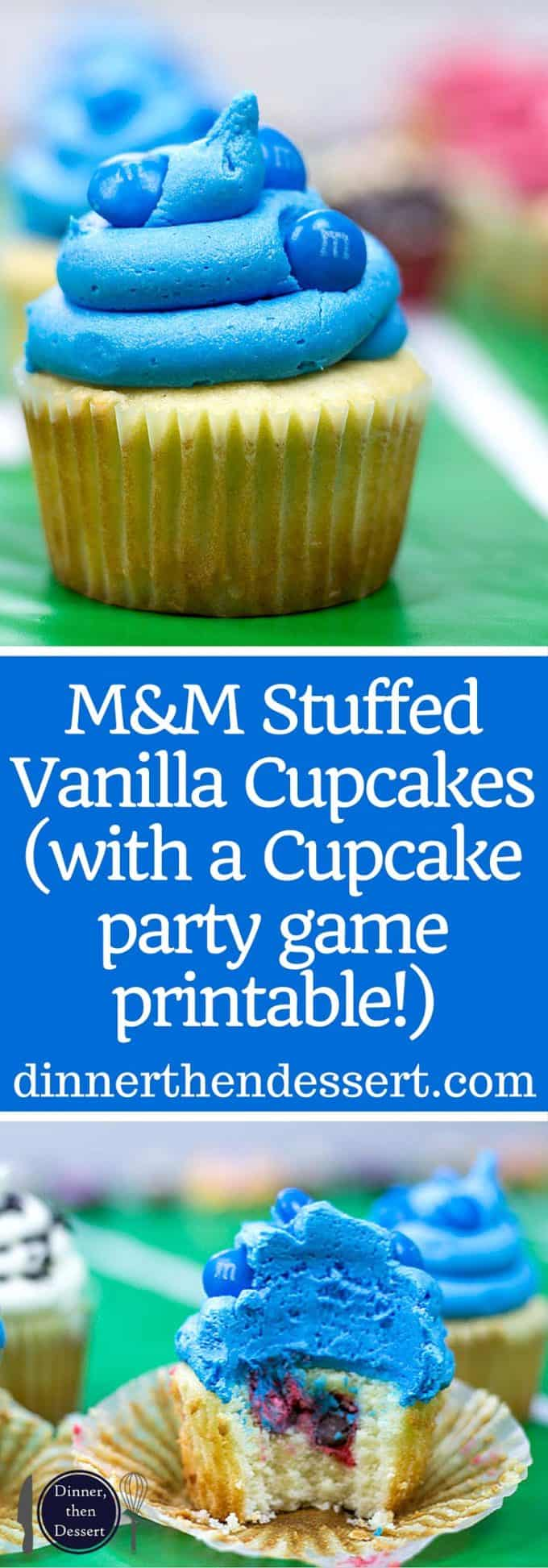 M&M's Stuffed Easy Vanilla Cupcakes with Vanilla Frosting and the stuffing makes for a fun party game for teams! (with a Super Bowl party game printable!)