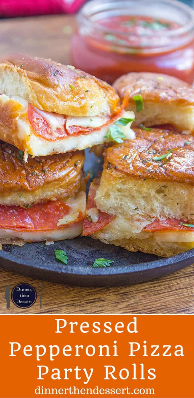 Pressed Pepperoni Pizza Party Rolls are crispy, cheesy, dippable and perfect make ahead for serving a crowd!