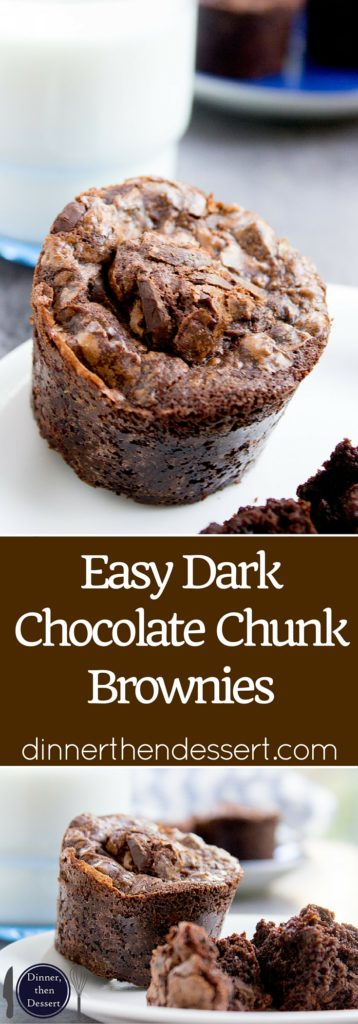 Easy Dark Chocolate Chunk Brownies that take just a few minutes to prep and have a deep chocolate flavor with rich dark chocolate chunks.