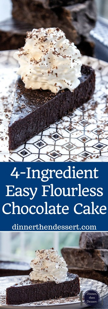 Flourless Chocolate Cake with just 4 ingredients and 5 minutes of prep time. Perfect for Passover, Easter or anytime you want the richest, easiest cake.