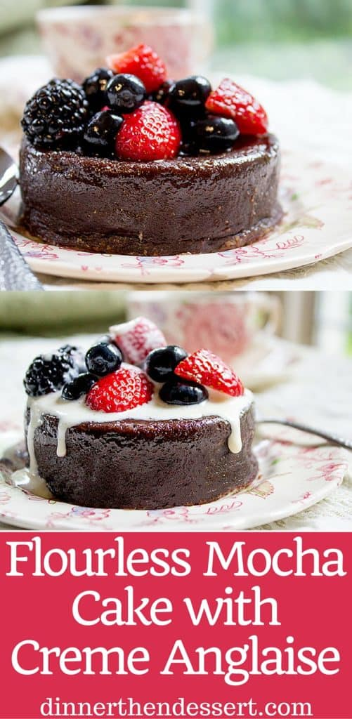 Flourless Mocha Cake with Creme Anglaise will leave your guests thinking it came from a bakery or restaurant. Dense mocha cake with vanilla cream is like the best coffee and cream dessert you've ever had.