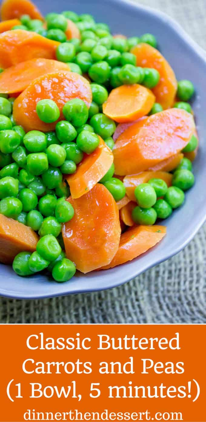 Classic Buttered Carrots and Peas made in just one bowl in a microwave and just five minutes using fresh carrots and frozen sweet green peas. A perfect bright side dish to your favorite meal.