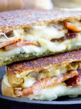 Fig and Bacon Grilled Cheese, otherwise known as The Figgy Piggy is a grilled cheese sandwich with homemade fig spread, bleu cheese, provolone and thick cut bacon.