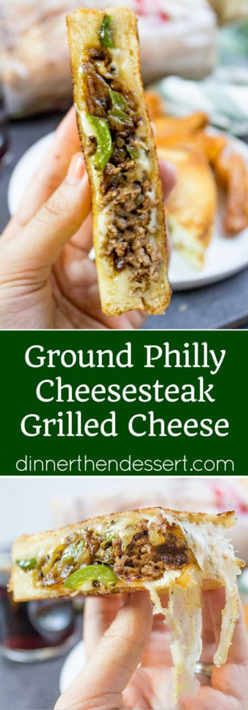 Ground Philly Cheesesteak Grilled Cheese made with bell peppers, onions and American or Provolone Cheese. All the flavor of a cheese steak for half the price.