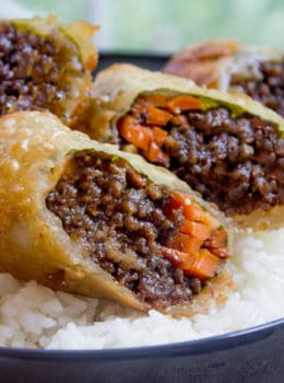 Korean Ground Beef Egg Rolls made with just brown sugar, soy sauce, garlic and ginger. A great party food and perfect use of leftovers!