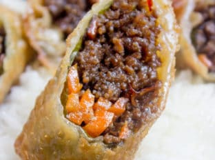 Korean Ground Beef Egg Rolls made with just a few ingredients are a great party food and perfect use of leftovers!