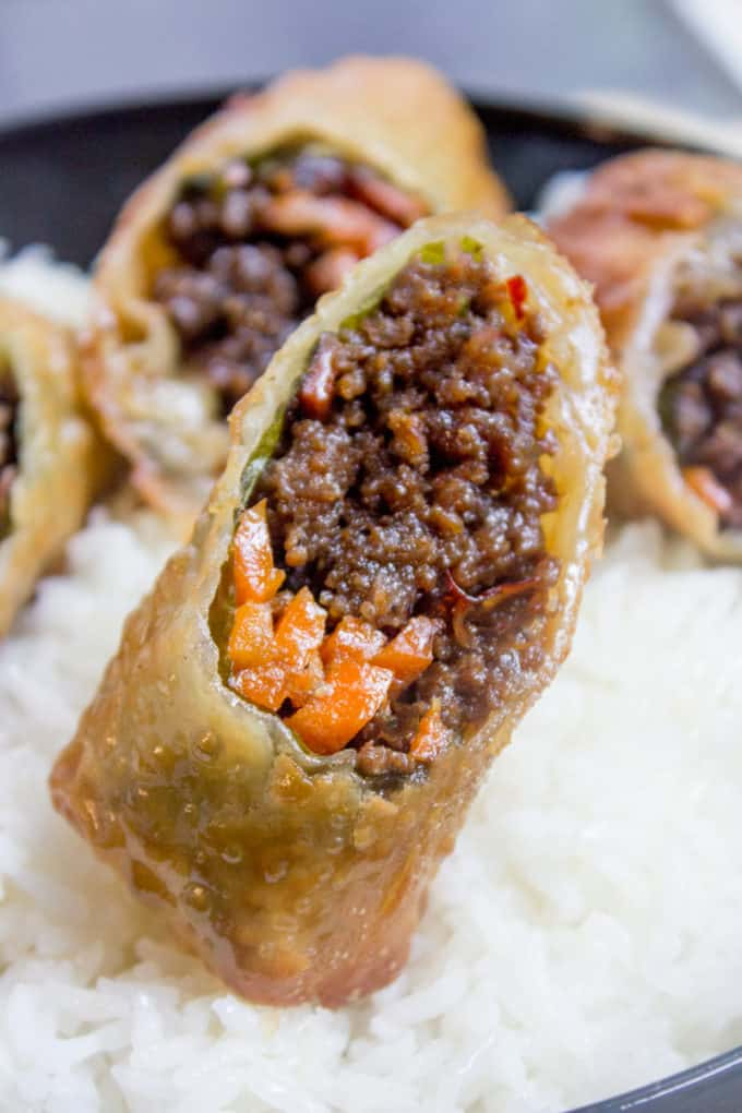 Korean Egg Rolls with Korean Ground Beef