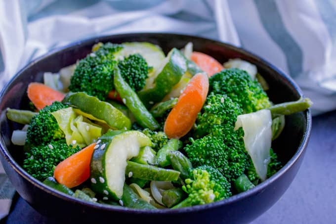 Panda Express Mixed Veggies is a mix of broccoli, zucchini, carrots, string beans and cabbage steamed in chicken stock for added flavor.