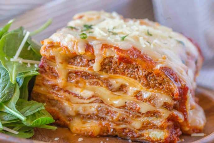 slice of meat lasagna on plate