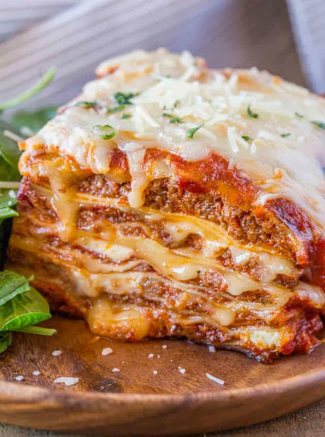 Meat Lasagna on plate.