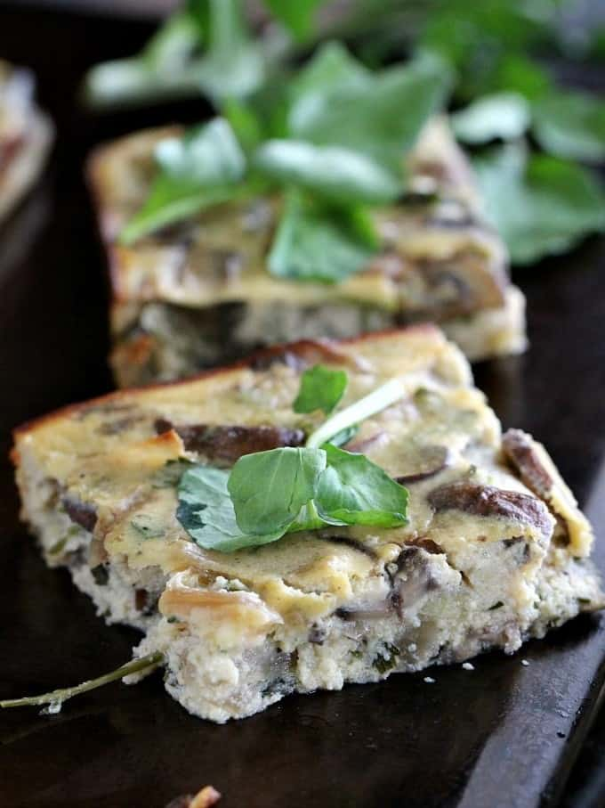 Mushroom Feta Crustless Quiche loaded with caramelized mushrooms and sweet onions, ricotta and feta cheese. Gluten free and loaded with veggies for a glorious breakfast.
