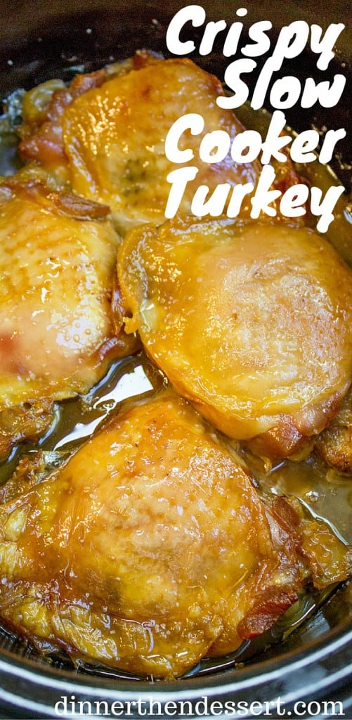 Crispy Slow Cooker Turkey Thighs are juicy, crispy, tender and a total breeze to make on a weeknight! Also includes 10 different ways to add different flavors with almost no effort!