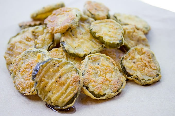 How to make fried pickles - slice a whole pickle instead of buying pre-sliced!