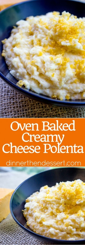 Oven Baked Creamy Cheese Polenta made with just four ingredients and none of the danger associated with boiling, bubbling hot polenta on the stove you have to keep stirring!