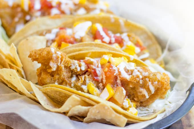 Beer Battered Crispy Fish Tacos - Dinner, then Dessert
