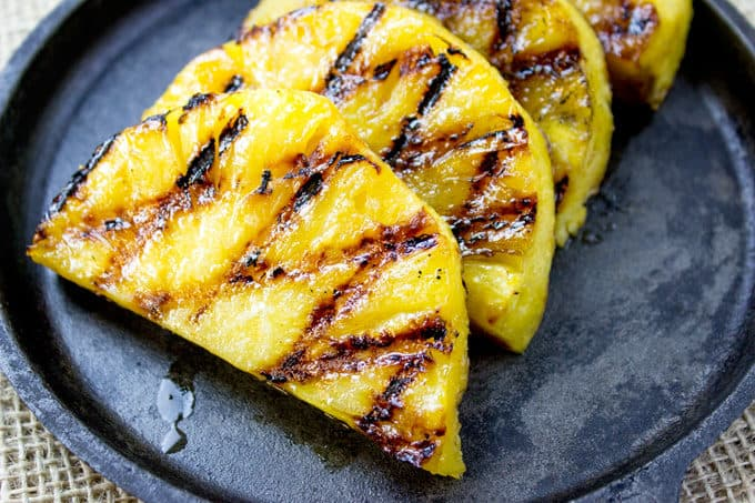 Brown Sugar Grilled Pineapple with grill marks