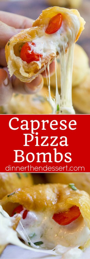 Caprese Pizza Bombs are a quick, fun treat or appetizer with fresh mozzarella, basil and cherry tomatoes. Plus the stretchy cheese factor is amazing.