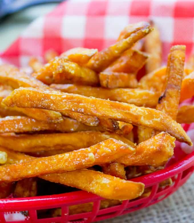 Sweet Potato Fries piled in basket