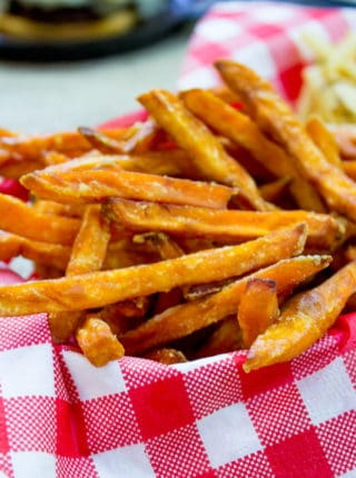 homemade sweet potato fries in serving basket