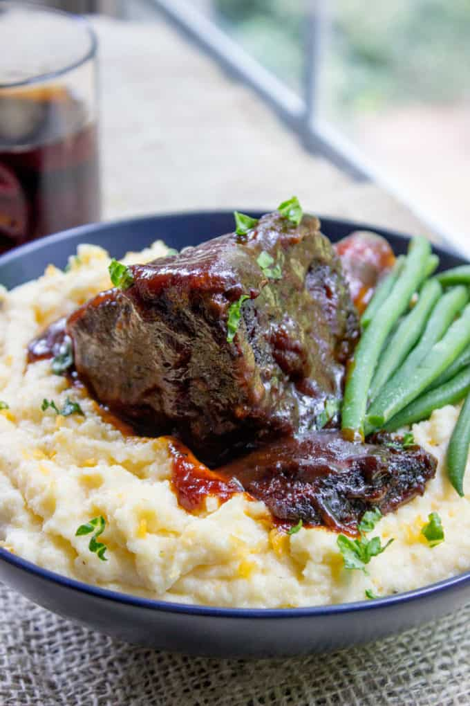 braised short ribs served over mashed potatoes