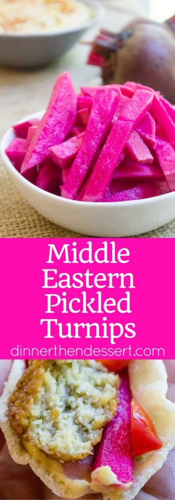 Pickled Turnips are the pickle of the Middle East, vinegary, a bit of heat and completely addicting and they are the perfect complement to your favorite gyro, falafel, roast chicken or kebab.