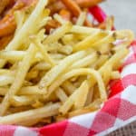 Shoestring French Fries are the perfect French Fries to make anytime you're craving a pile of crispy-crunchy fries and they stay crispy longer than thicker fries.