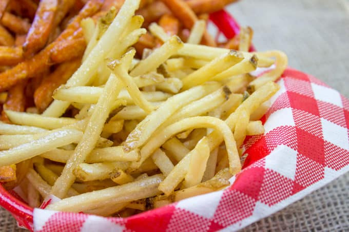 Shoestring Fries made with russet and sweet potatoes