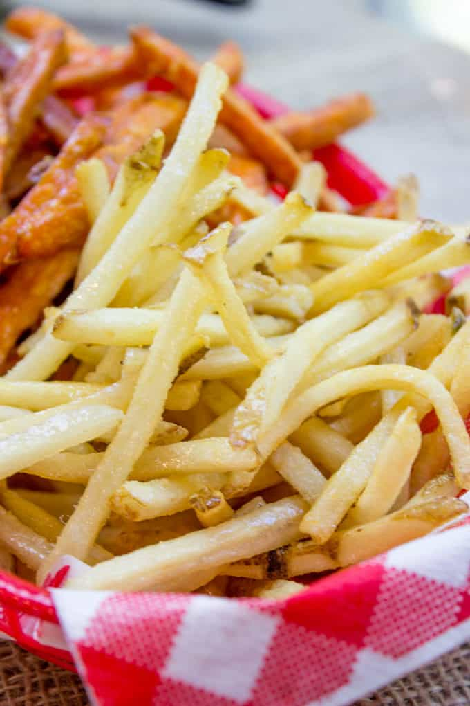 Shoestring Fries in basket with salt