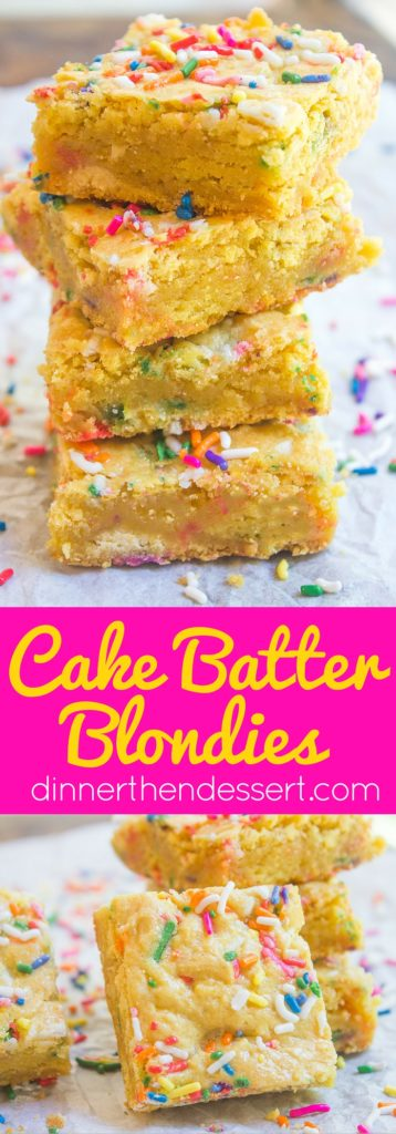 Cake Batter Blondies with all the flavors of your favorite birthday cake without the cake mix! Full of sprinkle goodness, chewy and soft!