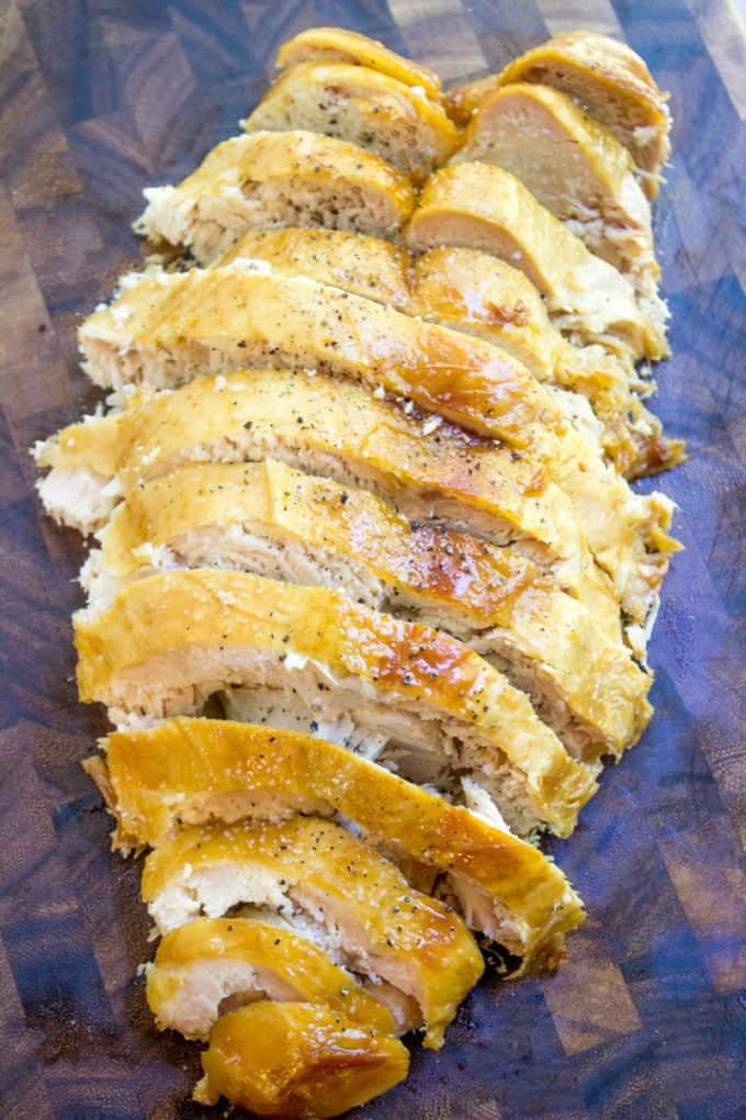 Crispy Slow Cooker Turkey Breast takes all the effort and guesswork out of preparing healthy turkey breast and is perfect sliced thinly in sandwiches. Never pay for turkey deli meat again!