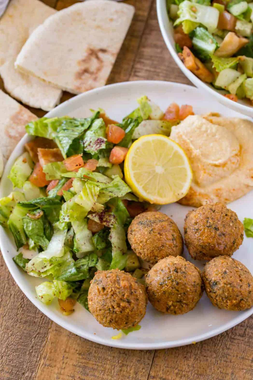 Falafel recipe with no canned beans served with hummus and salad