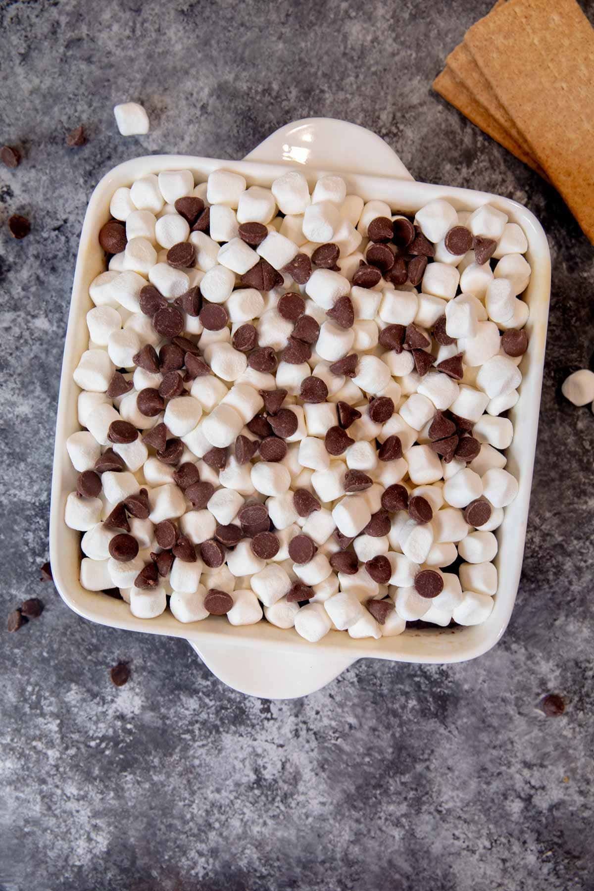 S'mores Brownies with marshmallows and chocolate chips