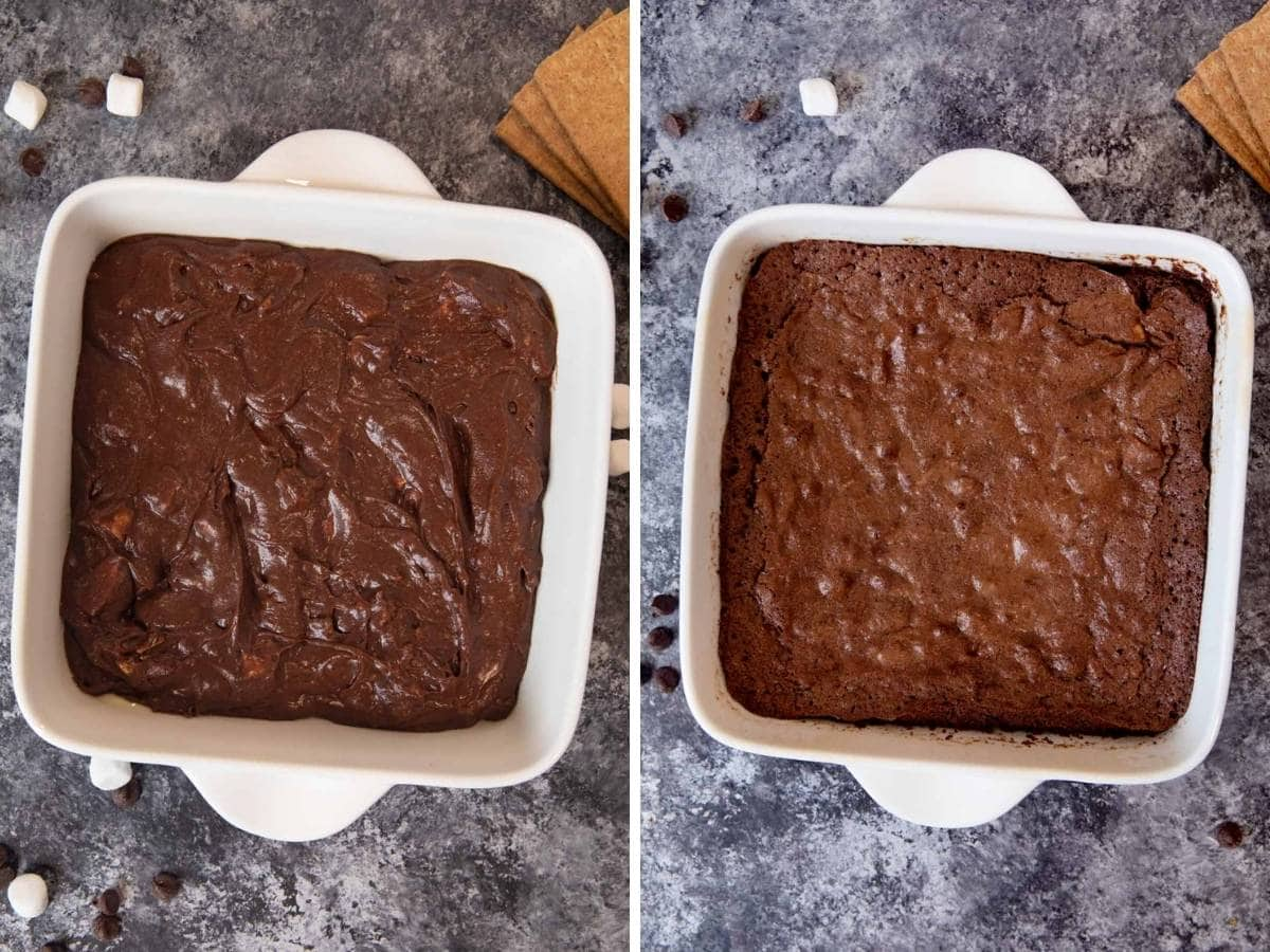 S'mores Brownies collage of brownie batter before and after baking