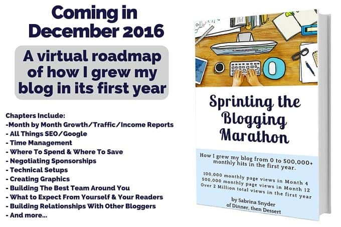Sprinting the Blogging Marathon, coming in December 2016!
