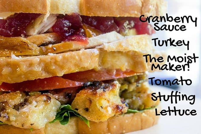 Ross Geller's legendary Turkey Moist Maker Sandwich in all its glory. Turkey breast, stuffing, cranberry sauce and the important moist maker layer, this is the sandwich of your dreams.